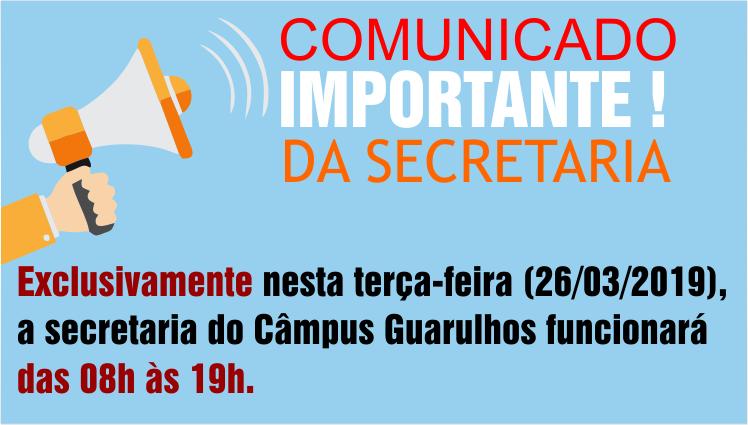 Comunicado Importante - Secretaria