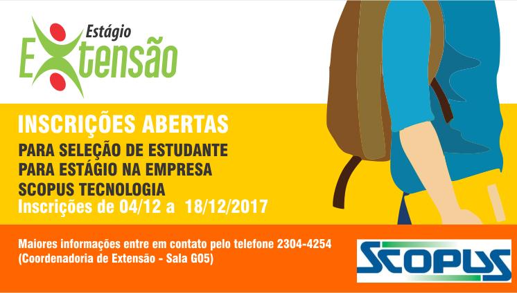Inscrições para Seleção de estudante para estágio na empresa Scopus Tecnologia