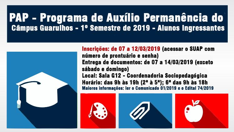 Programa de Auxílio Permanência do Câmpus Guarulhos 1º Semestre de 2019 - Alunos Ingressantes