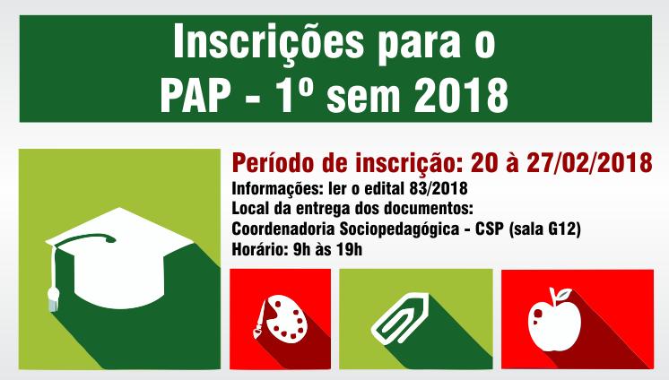 Inscrições para o PAP - 1º sem 2018