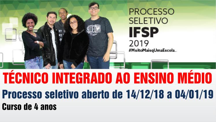 Processo seletivo 2019 - Técnico Integrado ao Ensino Médio