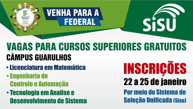 INSCRIÇÕES - CURSOS SUPERIORES GRATUITOS