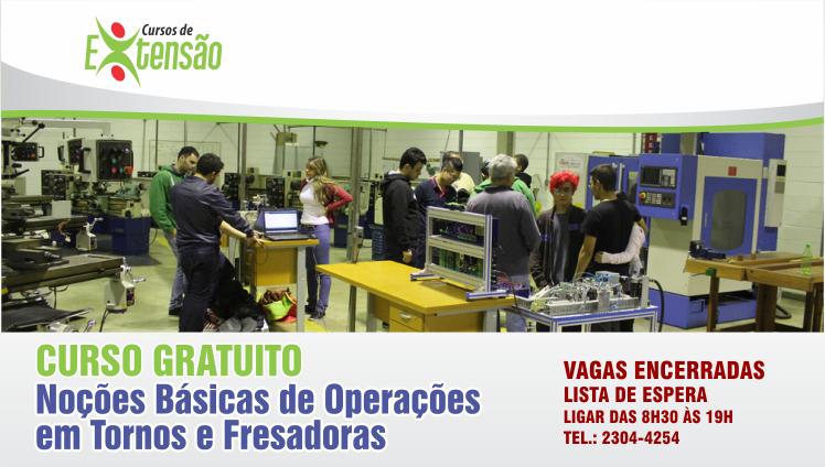 CURSO GRATUITO - Noções Básicas de Operações em Tornos e Fresadoras - Vagas Encerradas